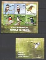 G407 2015 NEVIS ANIMALS BIRDS CENTRAL AMERICAN KINGFISHERS #19-24 !!! MICHEL 26 EURO !!! 1KB+1BL MNH - Oiseaux