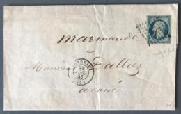 France N°10 Sur Lettre De Bordeaux à Marmande 1853 - (W1342) - 1849-1876: Période Classique