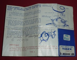 Rare Ancien Document Pour Changer La Pile De Montre TIMEX 1977 - Andere