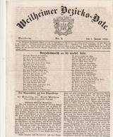 Weilheimer Bezirks-Bote / 1859 / Nr. 1 Vom 1. Januar, 4 Seiten (BB88-20) - Deutschland
