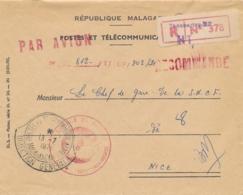 """Cachet """" POSTES ET TELECOMMUNICATIONS MADAGASCAR 13/7/71 '"""" Lettre Recommandée République Malgache - Lettres & Documents"""