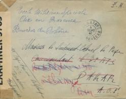 1941 MADAGASCAR Bande CENSURE OPENED BY EXAMINER 3785  Sur Lettre FM De TAMATAVE Pour DAKAR AOF - Redirigée - Lettres & Documents