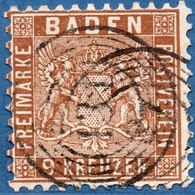 Baden Germany 1862 - 9 Kr Clear Brown Perforated 10 Cancel 131 (concentric Rings) 131 Schwetzingen 2005.0410 - Baden
