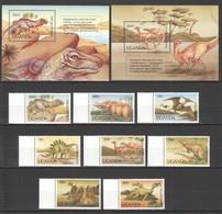 G423 1992 UGANDA FAUNA DINOSAURS #1064-71 MICHEL 35 EURO 1SET+2BL MNH - Préhistoriques