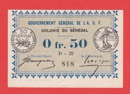 A O F SENEGAL Billet 50 Centimes Decret 11 02 1917 Pick 2 - Sénégal