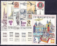 Tchécoslovaquie 1967 Mi 1738-44 Zf (Yv PA 61-7 Avec Vignettes), (MNH)** - Airmail