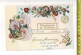 55144 - Telegramme De Bonheur - Heureux Anniversaine Avec Dentelle - Met Kantwerk - Stamped Stationery