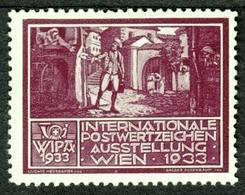 """Österreich Wien Philatelie """" Ausstellung WIPA 1933 """" Vignette Cinderella Reklamemarke - Erinnophilie"""