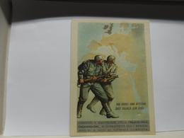 CARTOLINA DI FRANCHIGIA  MILITARE II GUERRA  --- ILL  GINO BOCCASILE  -- DUE POPOLI  UNA VITTORIA - War 1939-45