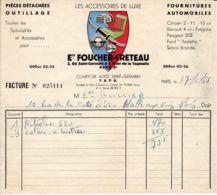 FRANCE - 1958 - Facture - Fournitures Automobiles - Foucher-Creteau - Cars