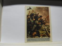 CARTOLINA DI FRANCHIGIA  MILITARE II GUERRA  --- ILL  GINO BOCCASILE  --   COMBATTERE  VERBO DELLE CAMICIE  NERE - War 1939-45