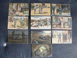 SERIE DE 10 CARTES - ILLUSTRATEUR GABARD - LA VIE SUR LE FRONT EN 1914/18 - Guerre 1914-18