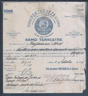 Caravela Descobrimentos Portueses. Recibo Soc. Portuguesa Seguros 1934. Caravel Portuguese Discoveries. Cross Of Christ. - Portugal