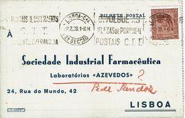 Mechanical Meter 1938 ,  Slogan  Postmark  POSTAIS ILUSTRADOS CTT , Laboratórios Azevedos Postcard , Sandoz - Postmark Collection