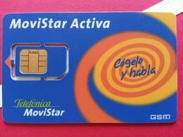 SPAIN SIM GSM Telefonica Movistar ACTIVA M MAR Cut Chip - Numbers Back USIM RARE Used (BH1219b - Telefonica