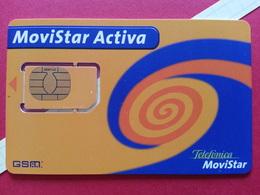 SPAIN SIM GSM Telefonica Movistar ACTIVA Orange Cut Chip - Numbers Back USIM RARE Used (BH1219b - Telefonica