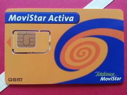 SPAIN SIM GSM Telefonica Movistar ACTIVA Orange Cut Chip 2 - Numbers Back USIM RARE Used (BH1219b - Telefonica