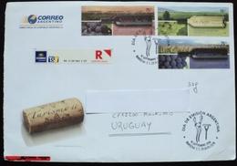 2006 Argentina Argentine Circulated Certificated Cover Montevideo  Wine Vin Vino Grape Raisin Cork Corkscrew Liege Uva - Storia Postale
