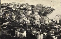 Cp Montreux Kanton Waadt Schweiz, Teilansicht Der Stadt, Bahnhof, Vogelschau - VD Vaud