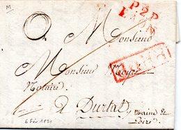 (L242) Port Payé De Laon (Aisne) Rouge En 1821 Pour Duretal + PPPP Et Cursive 47 Duretal En Arrivée. LAC - 1801-1848: Precursori XIX