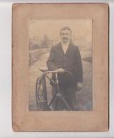 Photo Ancienne Vélo Cyclisme Vers 1900? Bicyclette -sur Carton - Cyclisme