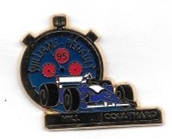 Pin's  Sport  Automobile  F 1  WILLIAMS - RENAULT  95  Avec  HILL Et  COULTHARD  Cartouche  NOIRE - F1