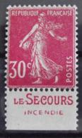 France N° 191c * Avec Trace De Charnière. Semeuse Rose 30c. Carnet. Bande Publicitaire Publicité Pub. - Advertising