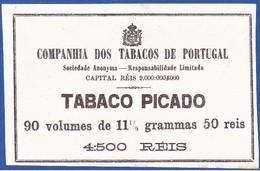 Portugal 1880 To 1899, Label Tobacco Package - TABACO PICADO / Companhia Dos Tabacos De Portugal - 90 X 50 Reis - Boites à Tabac Vides