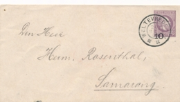 Nederlands Indië - 1906 - 10 Op 25 Cent Willem III, Envelop G13a Van GR Weltevreden Naar GR Semarang - Rood Sluitzegel - Indes Néerlandaises
