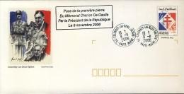 De Gaulle France PAP Colombey Oblitéré 9 11 2006 Avec Griffe Pose 1ère Pierre Du Mémorial (Chirac) - De Gaulle (Generale)