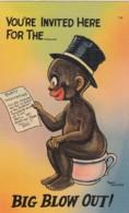 Black Americana, Munson Artist Signed Image 'Big Blow Out' Invitation Humor Theme C1930s/40s Vintage Linen Postcard - Black Americana