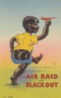 Black Americana, Artist Image 'Air Raid And Blackout' Humor Theme C1940s Vintage Linen Postcard - Black Americana