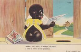 Black Americana, Artist Image 'I Luvs To Reelax In Dis Posishun', Boy Outhouse Humor Theme C1940s Vintage Linen Postcard - Black Americana