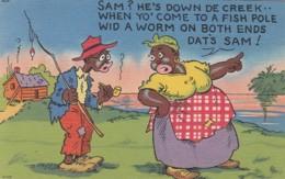 Black Americana, Artist Image 'Sam Fishing Worm At Both Ends Of Pole' Humor Theme C1940s Vintage Linen Postcard - Black Americana