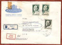 Eilboten Expres, Einschreiben Reco, Illustrierter Umschlag Loewen, Tito, Zagreb Nach Fuerth 1969 (93696) - Covers & Documents