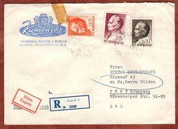 Eilboten Expres, Einschreiben Reco, Illustrierter Umschlag Loewen, Tito, Zagreb Nach Fuerth 1969 (93697) - Covers & Documents