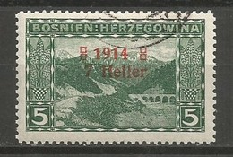 Bosnia Bosnien K.u.K. Austria Hungary Mi.89I Plate Flaw, Without Stop After 1914 In Overprint Used - Bosnien-Herzegowina