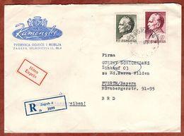 Eilboten Expres, Einschreiben Reco, Illustrierter Umschlag Loewen, Tito, Zagreb Nach Fuerth 1969 (93698) - Covers & Documents