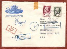 Eilboten Expres, Einschreiben Reco, Illustrierter Umschlag Loewen, Tito, Zagreb Nach Fuerth 1969 (93699) - Covers & Documents