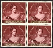 """PORTUGAL, 1953, 1TH CENTENNARY OF THE PORTUGUESE STAMP, CE#786X4, ONE WITH VARIETY """"T"""", MNH - Errors, Freaks & Oddities (EFO)"""