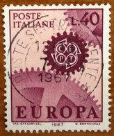 1967 ITALIA Europa CEPT Ruote Ingranaggio - Lire 40 Usato - 6. 1946-.. Repubblica