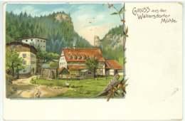Waltersdorfer Mühle Bad Schandau Lithographie Ansichtskarte Um 1900 - Bad Schandau