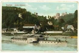 Rathen Sächsische Schweiz Ansichtskarte Raddampfer Um 1900 - Rathen