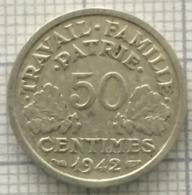 50 Centimes, 1942, France, État Français. - France
