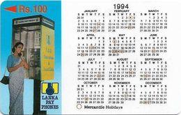 Sri Lanka - Lanka Pay Phones (GPT) - Calendar 1994 - 6SRLA - 100Rs, Used - Sri Lanka (Ceilán)