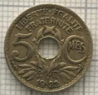 5 Centimes, 1922.  France, 3 Ième République. - C. 5 Centesimi