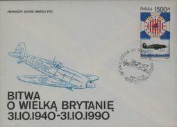 POLAND FDC 1990 50TH ANNIV WW2 BATTLE OF BRITAIN WORLD WAR 2 RAF POLISH 303 SQUADRON HURRICANE FIGHTER AIRCRAFT PLANES - FDC