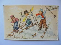 Cpa Carte Skieurs Style Germaine Bouret - Bouret, Germaine