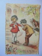 Cpa Carte Enfants Cheval Germaine Bouret - Bouret, Germaine
