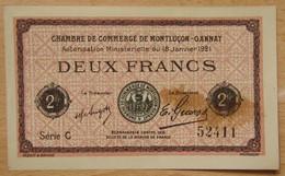 Montluçon - Gannat (03)  2 Francs Chambre De Commerce 1921 Série C - Cámara De Comercio